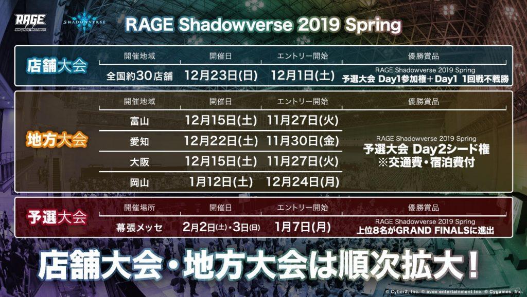 『RAGE Shadowverse 2019 Spring』の店舗大会、地方大会の日程