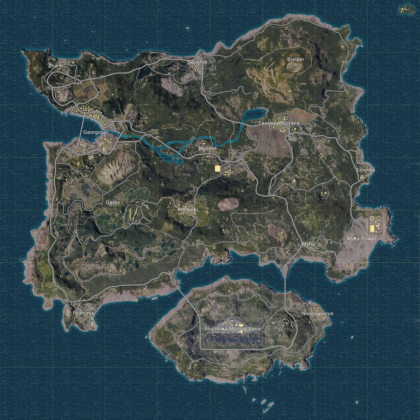 ERANGEL(島マップ)の全体画像