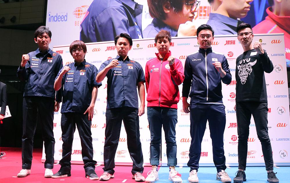 日本選抜のネモ選手、ふ〜ど選手、ときど選手とアジア選抜のHumanbomb選手、NL選手、Oil King選手