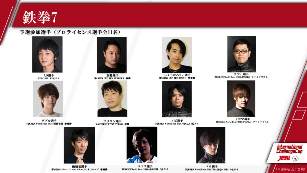 鉄拳7部門の選抜予選に参加する11選手<