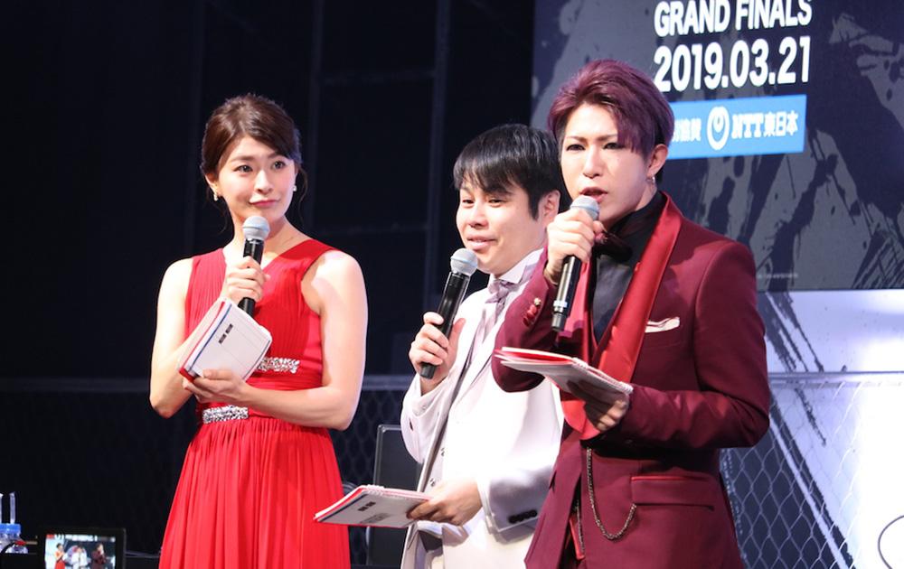 MCの八田亜矢子、スペシャルMCノンスタイル井上、スペシャルゲストゴールデンボンバーの歌広場淳