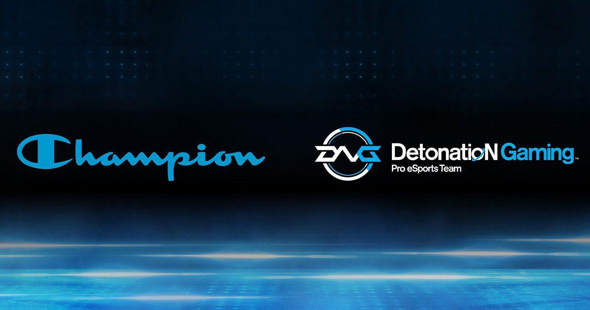 「DetonatioN Gaming」と「チャンピオン」がオフィシャルアウトフィッター契約締結を発表 チームオリジナルグッズの販売も
